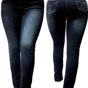 5IVE-WOMENS-PLUS-SIZE-Stretch-BLACK-HIGH-WAIST-denim-jeans-PANTS-SKINNY-LEG-0
