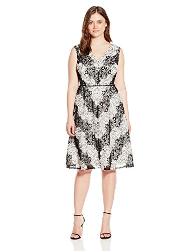 Adrianna Papell Women\'s Plus-Size Chevron Lace Striped Dress