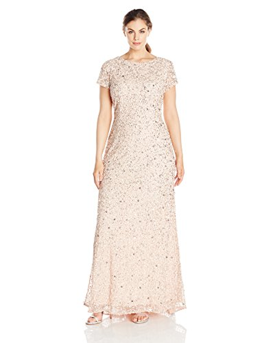 Adrianna Papell Women's Plus-Size Scoop-Back Long Beaded Gown