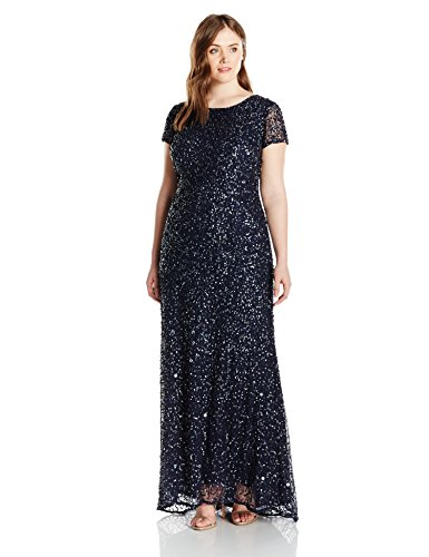 879df7c710a Adrianna Papell Women s Plus-Size Scoop-Back Long Beaded Gown