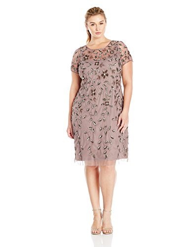 Adrianna Papell Womens Plus Size Short Sleeve Beaded Cocktail Dress