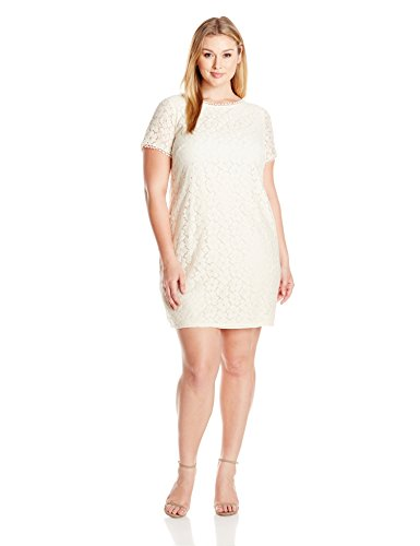 Adrianna Papell Womens Plus Size Short Sleeve Lace Shift