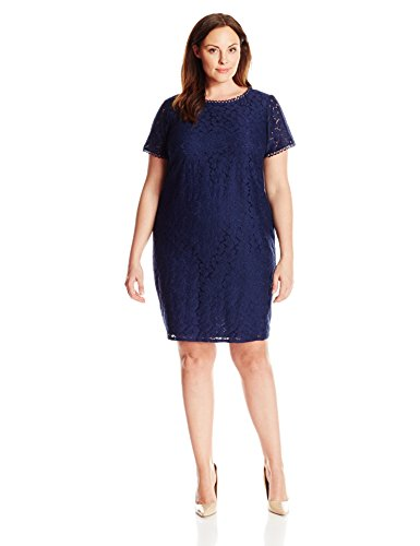 adrianna papell women's plus-size short-sleeve lace shift dress