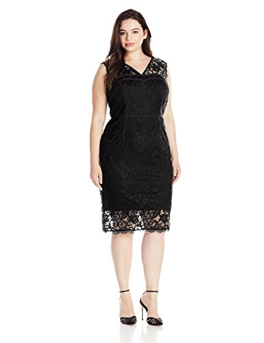 Adrianna Papell Women\'s Plus-Size Sleeveless Lace Dress