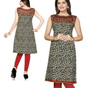 AmzG Trends Indian Kurtis for women and Girls Tunics Designer Kurti – X-Large, Black & Red