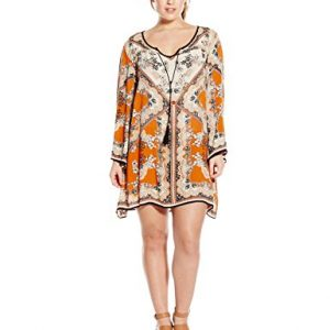 Angie-Juniors-Plus-Size-Spice-Printed-Bell-Sleeve-Dress-0