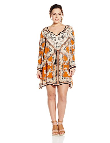 Angie Juniors\' Plus-Size Spice Printed Bell-Sleeve Dress
