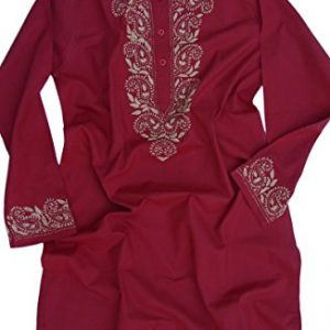Ayurvastram-Pure-Cotton-Round-Neck-Hand-Embroidered-Tunic-Top-Kurti-Blouse-0