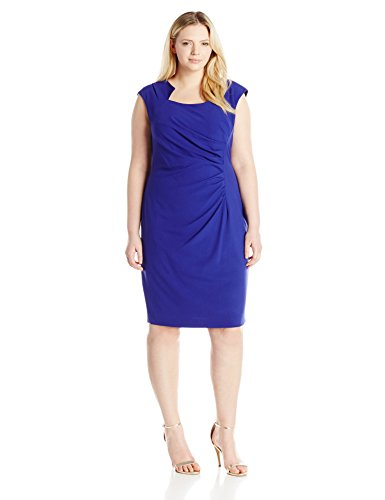 Calvin Klein Womens Plus Size Cap Sleeve Side Rouched Sheath Dress