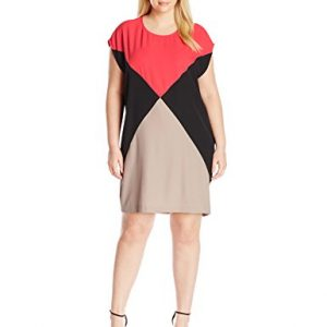 Calvin-Klein-Womens-Plus-Size-Color-Block-Cap-Sleeve-Dress-0