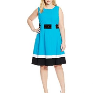 Calvin-Klein-Womens-Plus-Size-Fit-and-Flare-Color-Block-with-Belted-Waist-0