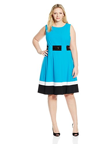 Calvin Klein Womens Plus Size Fit And Flare Color Block With Belted