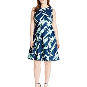 Calvin-Klein-Womens-Plus-Size-Seamed-Flare-Dress-0