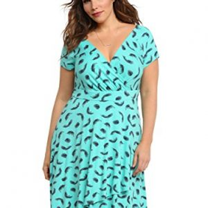 Feather-Print-Surplice-Dress-0