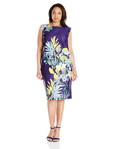 Gabby Skye Women's Plus-Size Floral Printed Sheath Dress – 14 Plus, Purple Multi