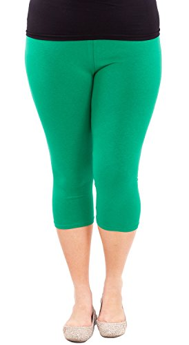 Clothes Effect Woman Plus Size Elastic Waist Cotton Capri Leggings ...