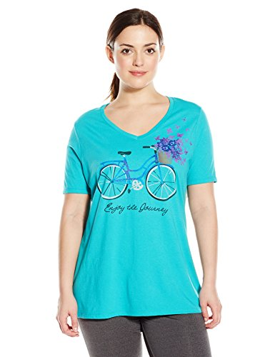 72dfddedb45 Just My Size Women s Plus-Size Printed Short-Sleeve V-Neck T-Shirt