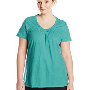 Just-My-Size-Womens-Short-Sleeve-Shirred-V-Neck-Tee-0