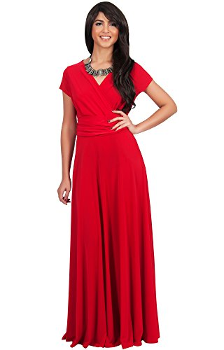 6465d1fcc4 KOH KOH Womens Long Sexy Cap Short Sleeve V-neck Flowy Cocktail Gown Maxi  Dress