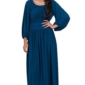 KOH-KOH-Womens-Long-Sleeve-Ruched-Empire-Waist-Cocktail-Maxi-Dress-0