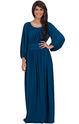 4b867a338094 KOH KOH Womens Long Sleeve Vintage Peasant Empire Waist Pleated Fall Maxi  Dress