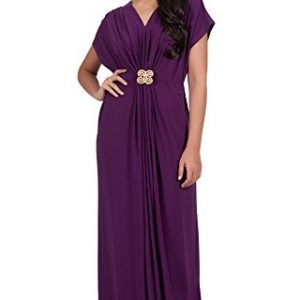KOH-KOH-Womens-V-neck-Short-Sleeve-Ruched-Waist-Long-Gown-Maxi-Dress-0