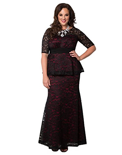 Kiyonna Women\'s Plus Size Astoria Lace Peplum Gown