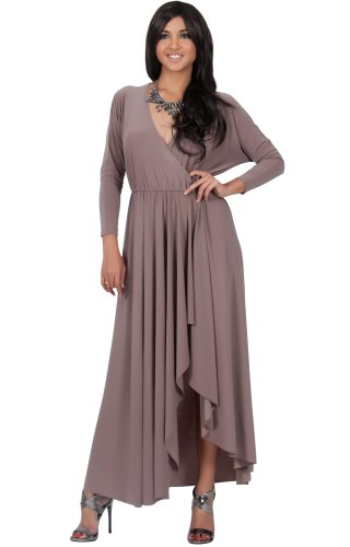 KOH KOH Womens Long Long Sleeve Wrap Slit Formal Fall Winter Cocktail Maxi Dress