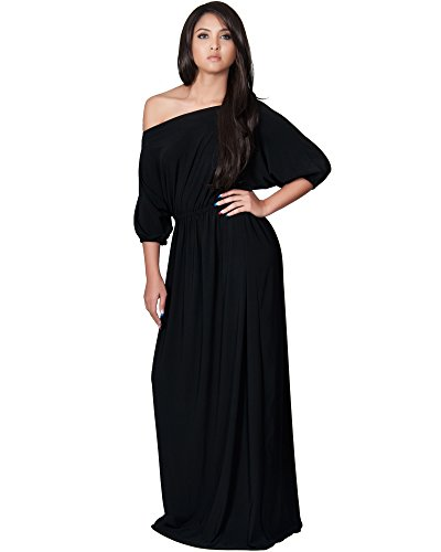 a512ec2785c KOH KOH Womens Long Sexy One Shoulder Flowy Casual 3 4 Short Sleeve Maxi  Dress