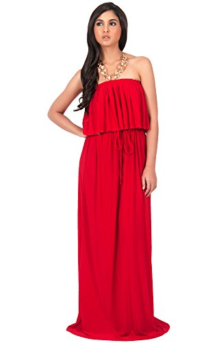 Evening strapless maxi dress