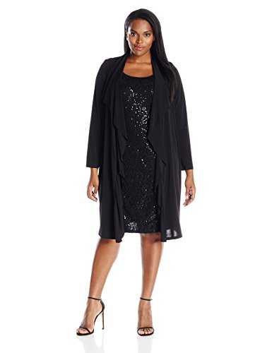 London Times Women\'s Plus-Size Sequin Lace Dress with Jacket