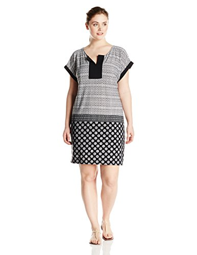 London Times Women\'s Plus-Size Short-Sleeve Printed Jersey Shift Dress