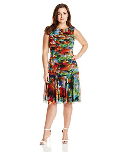 London Times Womens Plus Size Shutter Drop Waist Dress 0 Womens