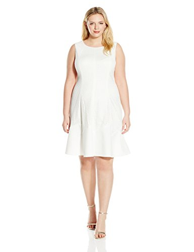 London Times Womens Plus Size Sleeveless Laser Cut Scuba Fit And Flare Dress