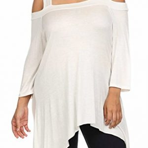 Modern-Kiwi-Long-Solid-Off-The-Shoulder-Asymmetric-Plus-Size-Tunic-Top-0