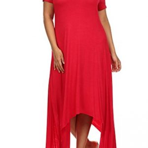 Modern-Kiwi-Solid-Short-Sleeve-Asymmetric-Plus-Size-Dress-0