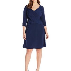 NY-Collection-Womens-Plus-Size-34-Sleeve-Cross-Front-Dress-0