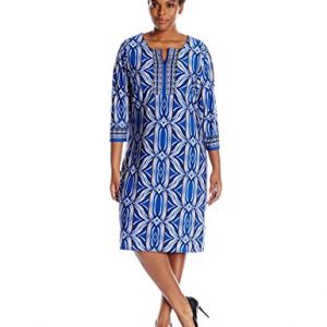 NY-Collection-Womens-Plus-Size-34-Sleeve-Split-Neck-Dress-0