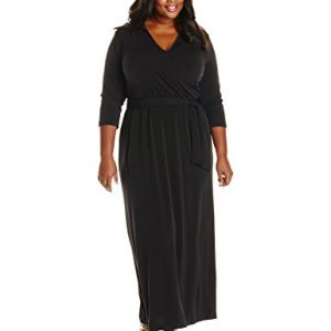 NY-Collection-Womens-Plus-Size-34-Sleeve-Wrap-Front-Maxi-Dress-with-Tie-0