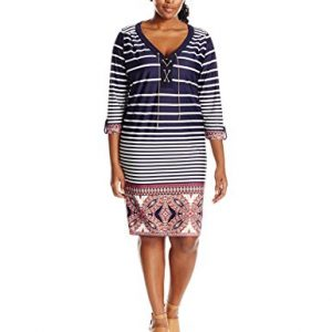 NY-Collection-Womens-Plus-Size-Printed-34-Sleeve-Dress-with-Chain-Lace-Up-At-Front-0