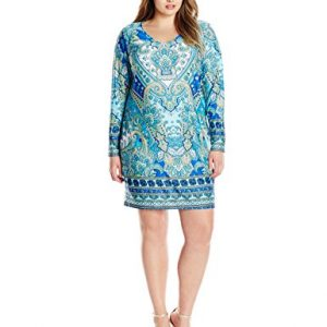 Notations-Womens-Plus-Size-Border-Print-Long-Sleeve-V-neck-Dress-0