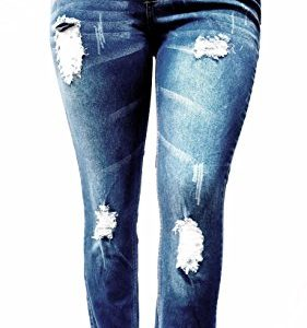 OMEGA-Womens-Plus-Size-Ripped-Destroy-Blue-Denim-Roll-up-Distressed-Jeans-Pants-0