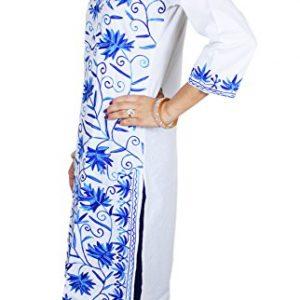 Pure-Cotton-Blouse-Indian-Blue-Floral-Embroidered-Tunic-Top-Kurti-38-Inch-M-0