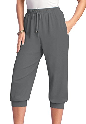 Roamans Women's Plus Size Drawstring Knit Capris