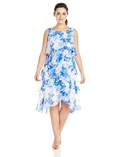 S.L. Fashions Women\'s Plus-Size Floral Tiered Dress