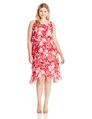 S.L. Fashions Women\'s Plus-Size Red Floral Tiered Dress