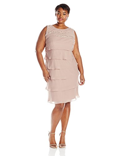 S.L. Fashions Women\'s Plus-Size Sequined Tiered Dress