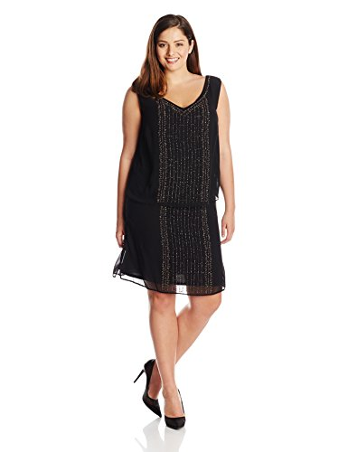 Sl Fashions Womens Plus Size Waterfall Sequined Tunic Dress