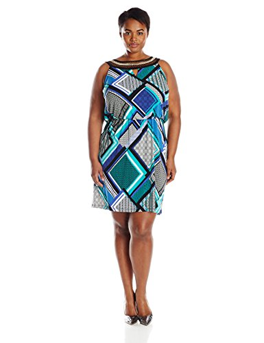 Sandra Darren Womens Plus Size Embellished Neck Printed Blouson Dress
