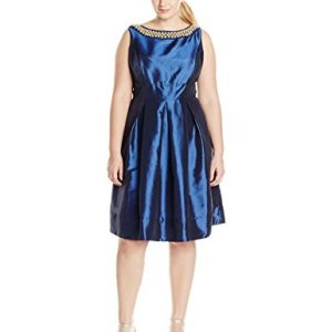 Sangria-Womens-Plus-Size-Pearl-Necklace-Taffeta-Fit-and-Flare-Dress-0